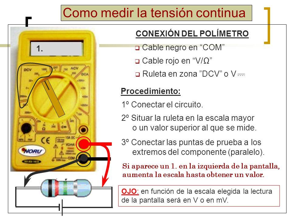 Como medir la intensidad continua CONEXIÓN DEL POLÍMETRO Cable negro en COM Cable rojo en A o 10A Procedimiento: 1º Conectar el circuito.