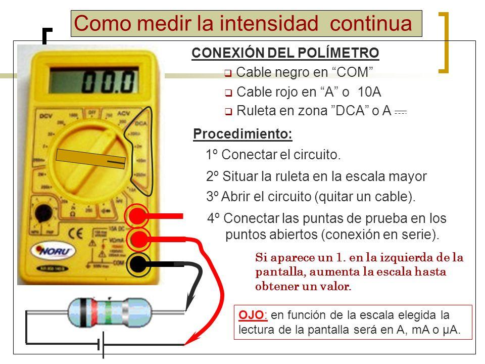 Actividades Medir la intensidad de un circuito formado por una pila de 6V y una bombilla.