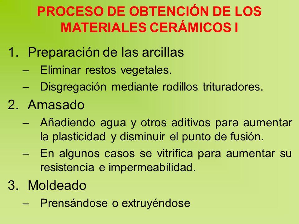 PROCESO DE OBTENCIÓN DE LOS MATERIALES CERÁMICOS I 1.Preparación de las arcillas –Eliminar restos vegetales. –Disgregación mediante rodillos triturado
