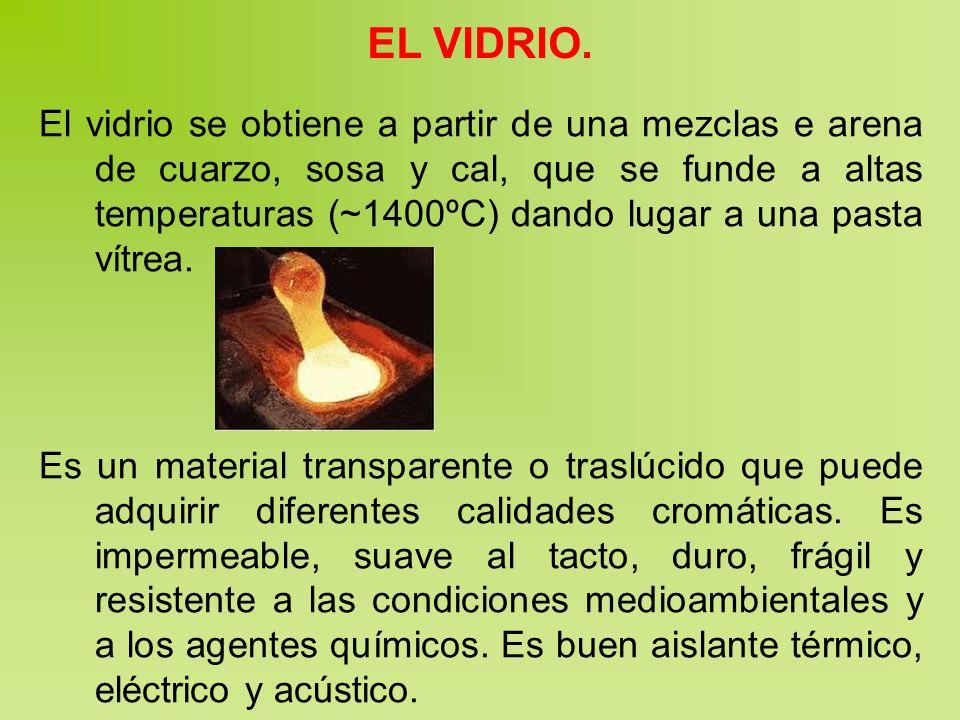 EL VIDRIO. El vidrio se obtiene a partir de una mezclas e arena de cuarzo, sosa y cal, que se funde a altas temperaturas (~1400ºC) dando lugar a una p