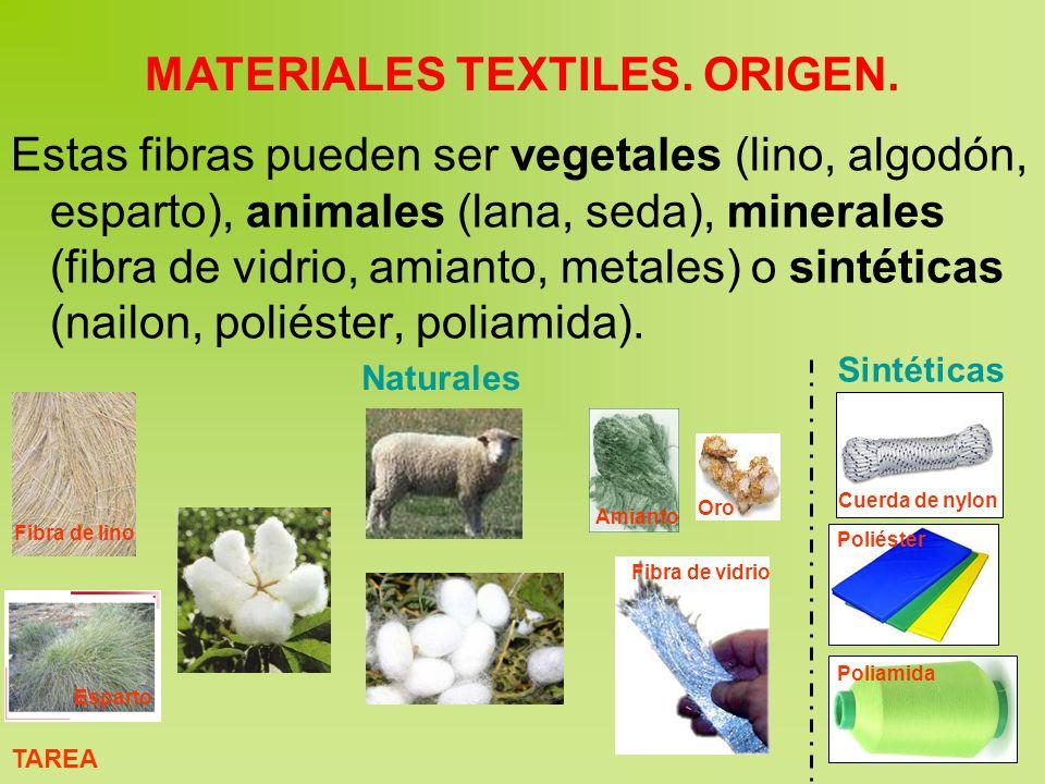 Estas fibras pueden ser vegetales (lino, algodón, esparto), animales (lana, seda), minerales (fibra de vidrio, amianto, metales) o sintéticas (nailon, poliéster, poliamida).