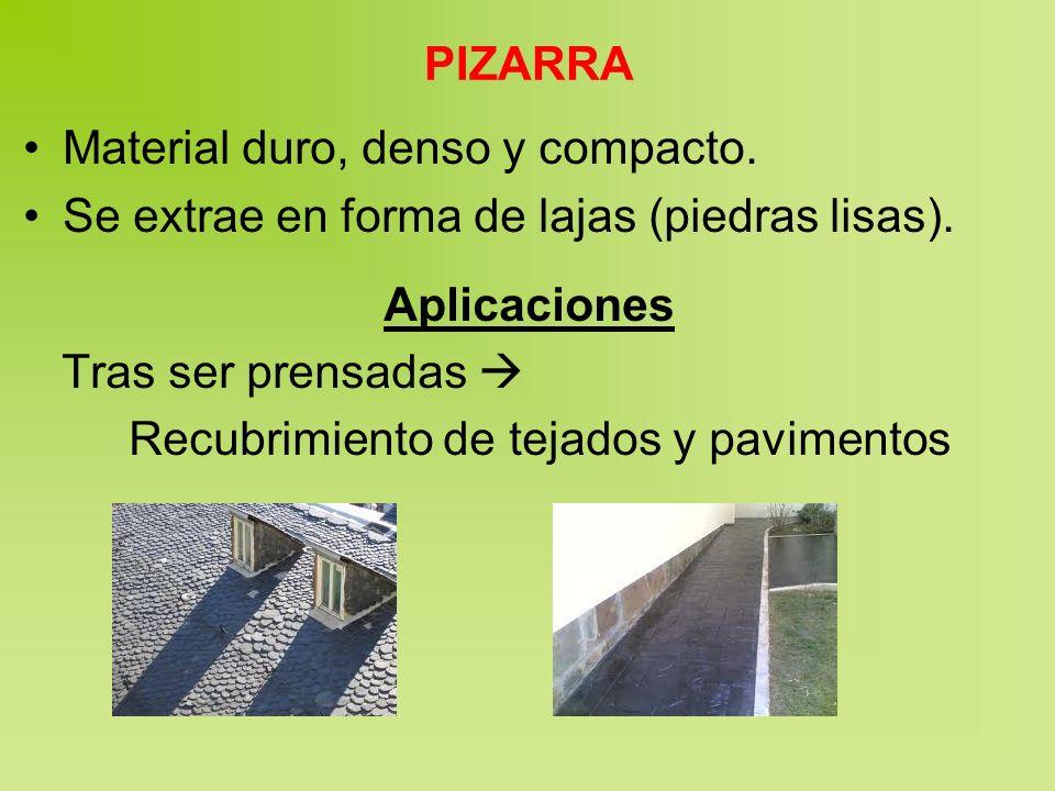 PIZARRA Material duro, denso y compacto. Se extrae en forma de lajas (piedras lisas). Aplicaciones Tras ser prensadas Recubrimiento de tejados y pavim