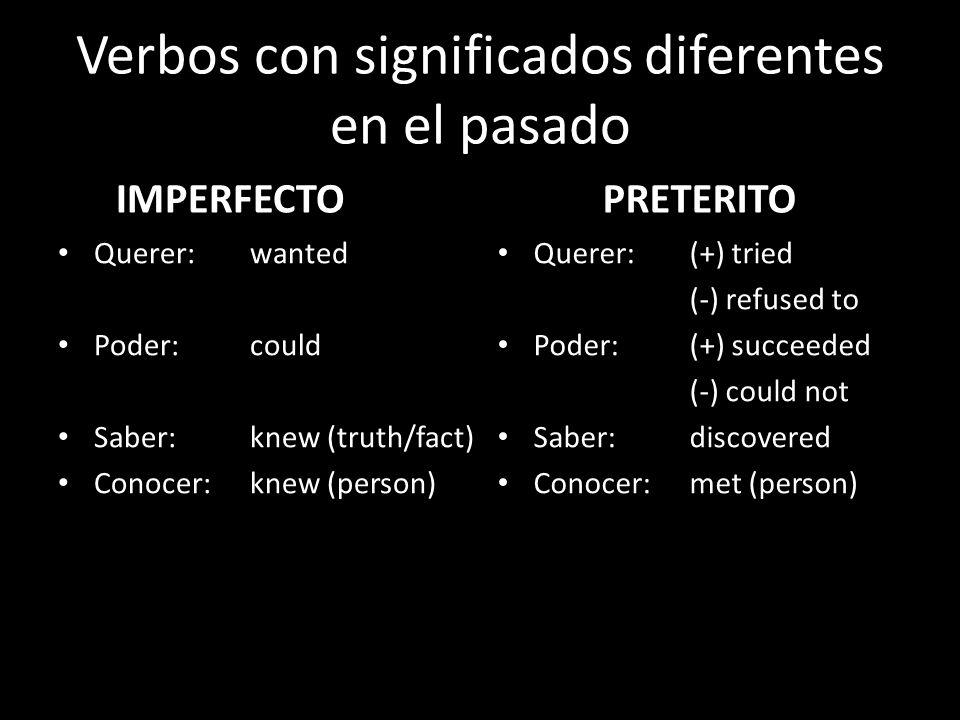 Verbos con significados diferentes en el pasado IMPERFECTO Querer: wanted Poder: could Saber: knew (truth/fact) Conocer: knew (person) PRETERITO Quere