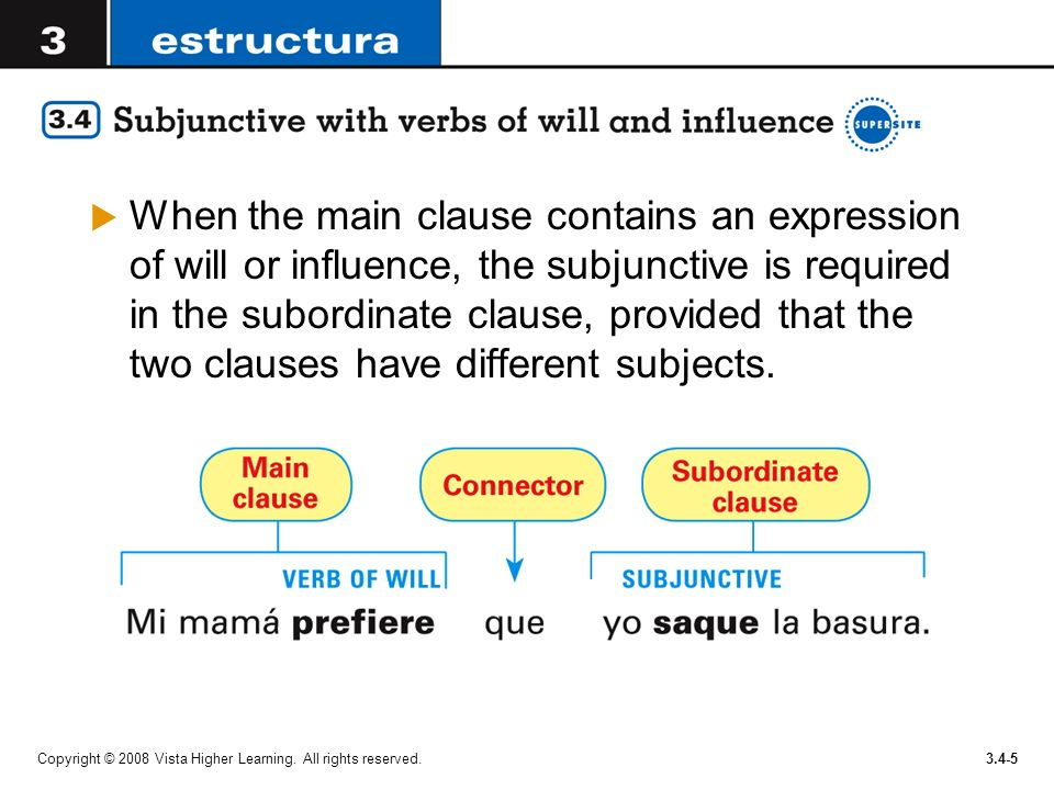 Copyright © 2008 Vista Higher Learning. All rights reserved.3.4-5 When the main clause contains an expression of will or influence, the subjunctive is