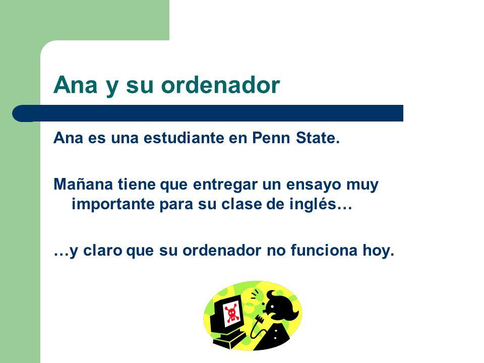 Ana y su ordenador Ana es una estudiante en Penn State. Mañana tiene que entregar un ensayo muy importante para su clase de inglés… …y claro que su or