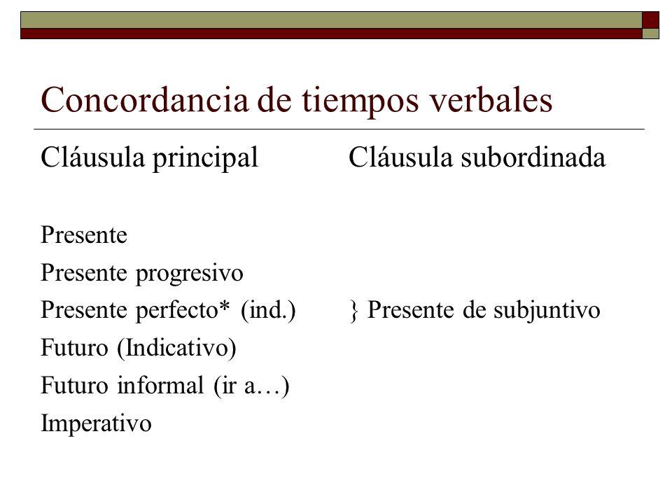 Concordancia de tiempos verbales Cláusula principal Presente Presente progresivo Presente perfecto* (ind.) Futuro (Indicativo) Futuro informal (ir a…)