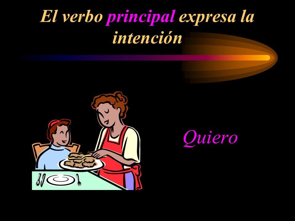 El verbo principal expresa la intención Quiero