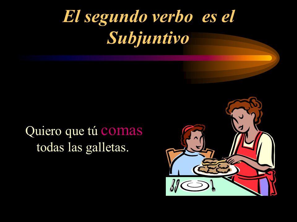 El segundo verbo es el Subjuntivo Quiero que tú comas todas las galletas.