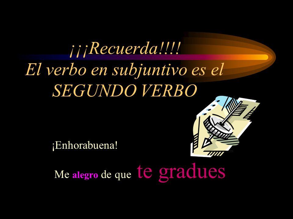 ¡¡¡Recuerda!!!. El verbo en subjuntivo es el SEGUNDO VERBO ¡Enhorabuena.