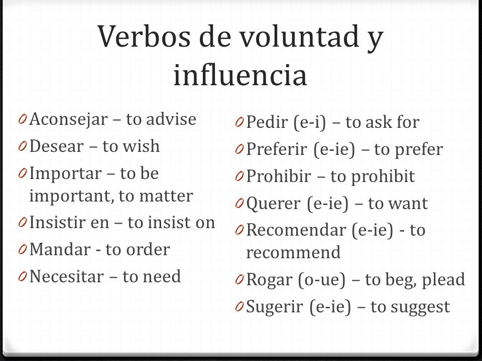 Verbos de voluntad y influencia 0 Aconsejar – to advise 0 Desear – to wish 0 Importar – to be important, to matter 0 Insistir en – to insist on 0 Mand