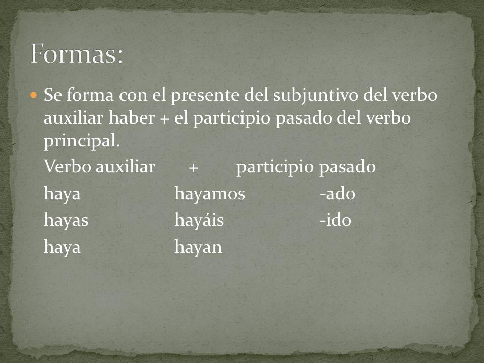 Se forma con el presente del subjuntivo del verbo auxiliar haber + el participio pasado del verbo principal. Verbo auxiliar + participio pasado hayaha