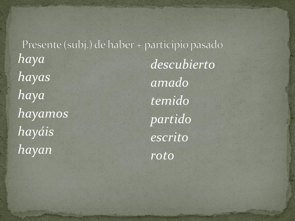 Las mismas condiciones que causan el uso del subjuntivo con el presente del subjuntivo aplican con el pretérito perfecto del subjuntivo.