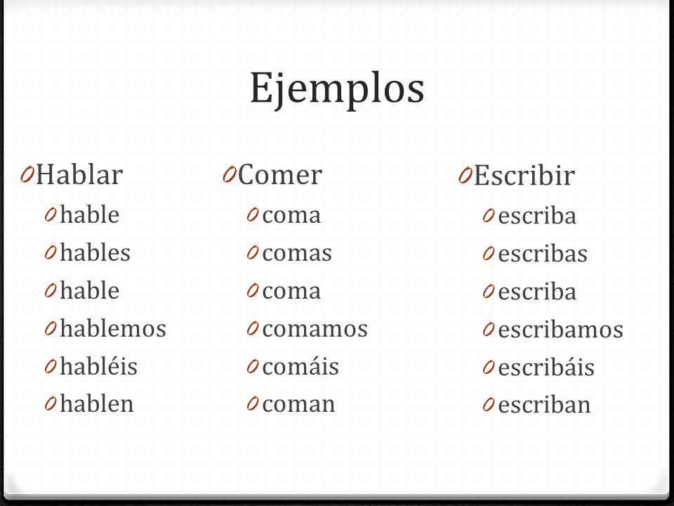 Ejemplos 0 Hablar 0 hable 0 hables 0 hable 0 hablemos 0 habléis 0 hablen 0 Comer 0 coma 0 comas 0 coma 0 comamos 0 comáis 0 coman 0 Escribir 0 escriba