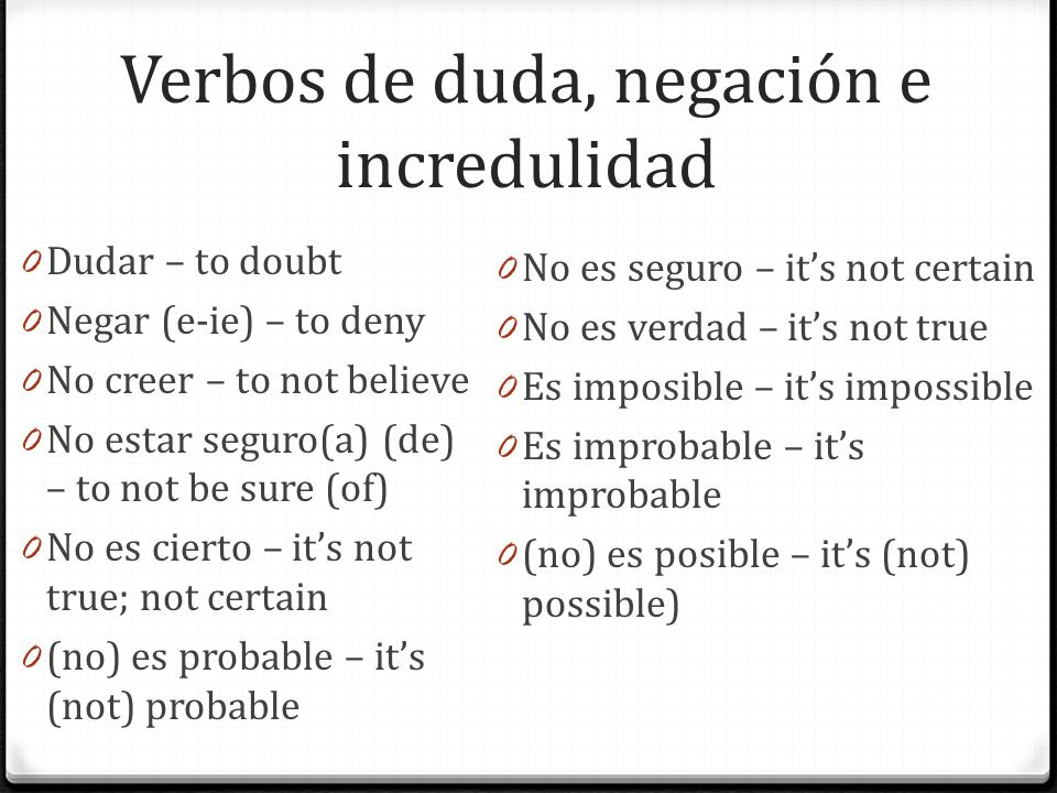Verbos de duda, negación e incredulidad 0 Dudar – to doubt 0 Negar (e-ie) – to deny 0 No creer – to not believe 0 No estar seguro(a) (de) – to not be