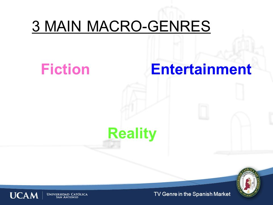 TV Genre in the Spanish Market Fiction 3 MAIN MACRO-GENRES Entertainment Reality