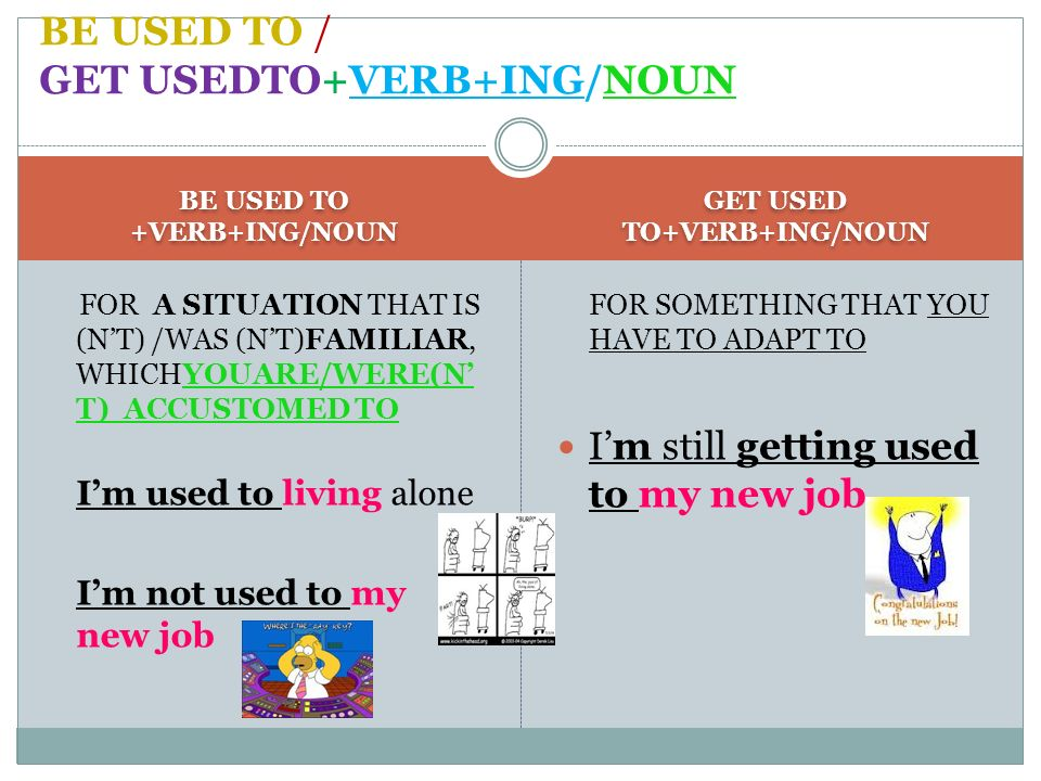 BE USED TO +VERB+ING/NOUN GET USED TO+VERB+ING/NOUN FOR A SITUATION THAT IS (NT) /WAS (NT)FAMILIAR, WHICHYOUARE/WERE(N T) ACCUSTOMED TO Im used to liv