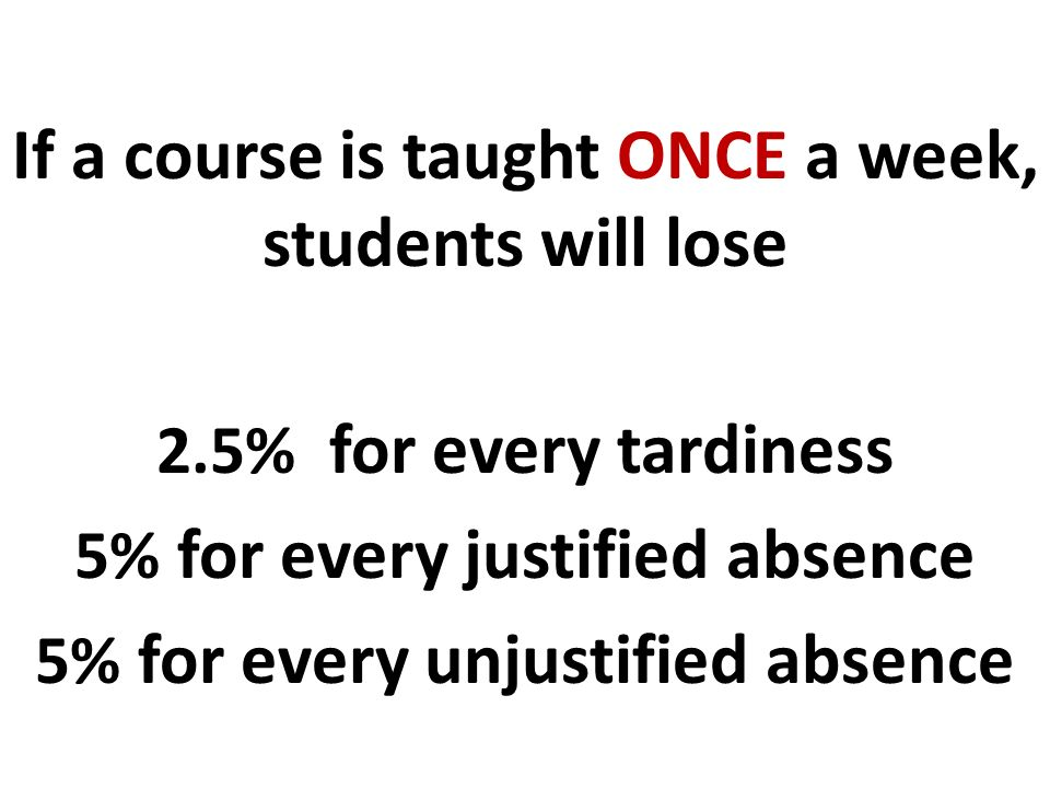 If a course is taught ONCE a week, students will lose 2.5% for every tardiness 5% for every justified absence 5% for every unjustified absence