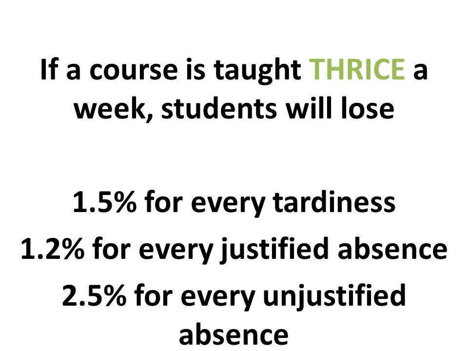 If a course is taught THRICE a week, students will lose 1.5% for every tardiness 1.2% for every justified absence 2.5% for every unjustified absence