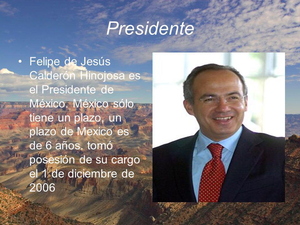 Presidente Felipe de Jesús Calderón Hinojosa es el Presidente de México. México sólo tiene un plazo, un plazo de Mexico es de 6 años. tomó posesión de