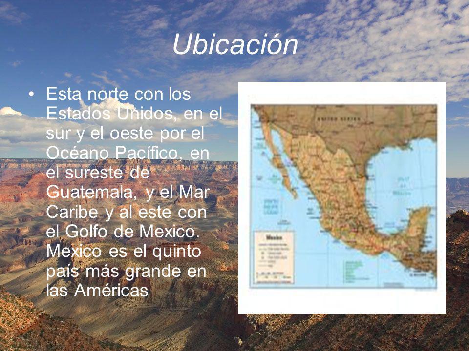 Ubicación Esta norte con los Estados Unidos, en el sur y el oeste por el Océano Pacífico, en el sureste de Guatemala, y el Mar Caribe y al este con el