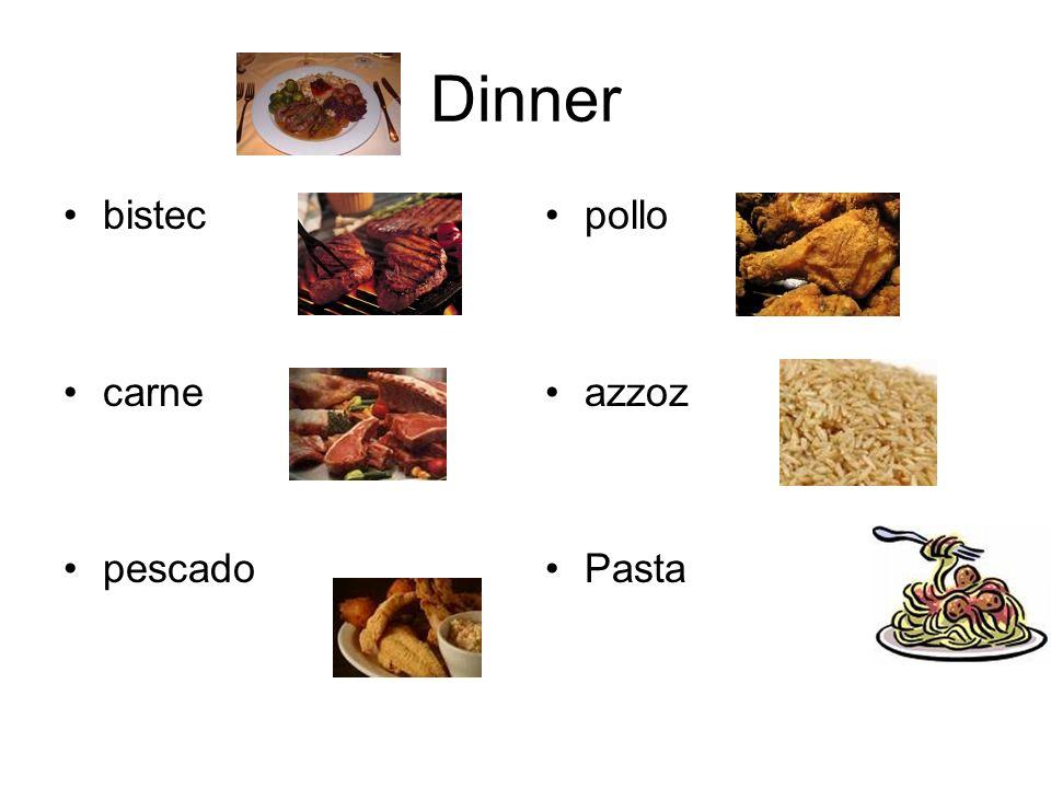 Dinner bistec carne pescado pollo azzoz Pasta