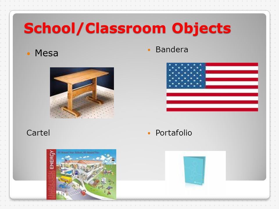 School/Classroom Objects Mesa Bandera Cartel Portafolio