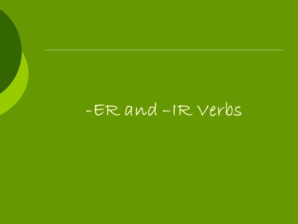 Regular –ER and –IR Verb Endings -í-imos -iste-isteis -ió-ieron