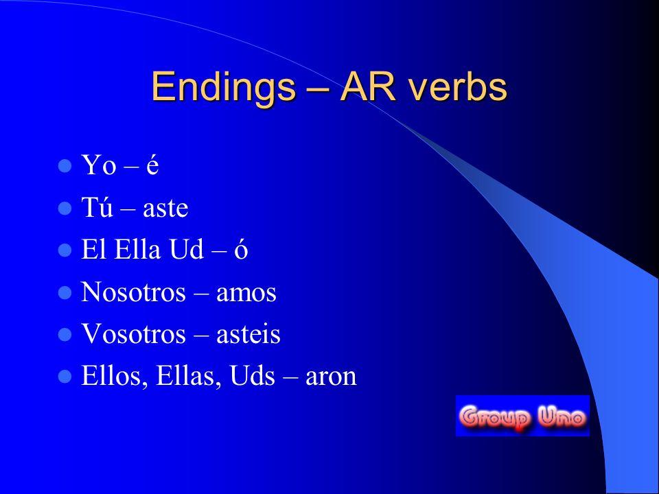 Endings – AR verbs Yo – é Tú – aste El Ella Ud – ó Nosotros – amos Vosotros – asteis Ellos, Ellas, Uds – aron
