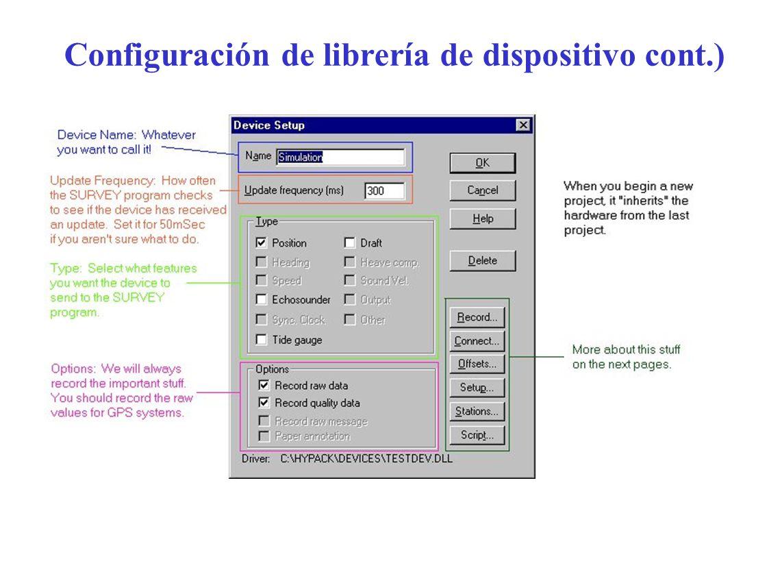 Configuración de librería de dispositivo cont.)
