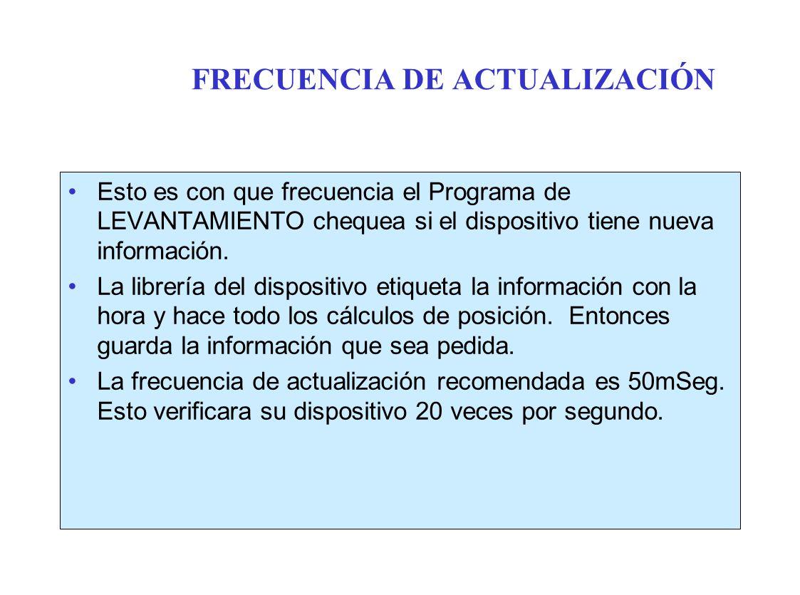 FRECUENCIA DE ACTUALIZACIÓN Esto es con que frecuencia el Programa de LEVANTAMIENTO chequea si el dispositivo tiene nueva información.