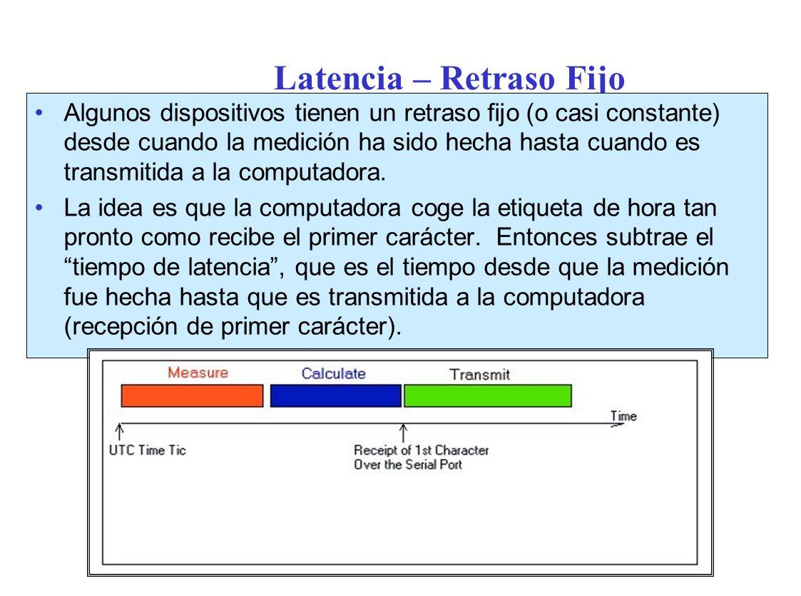 Latencia – Retraso Fijo Algunos dispositivos tienen un retraso fijo (o casi constante) desde cuando la medición ha sido hecha hasta cuando es transmitida a la computadora.