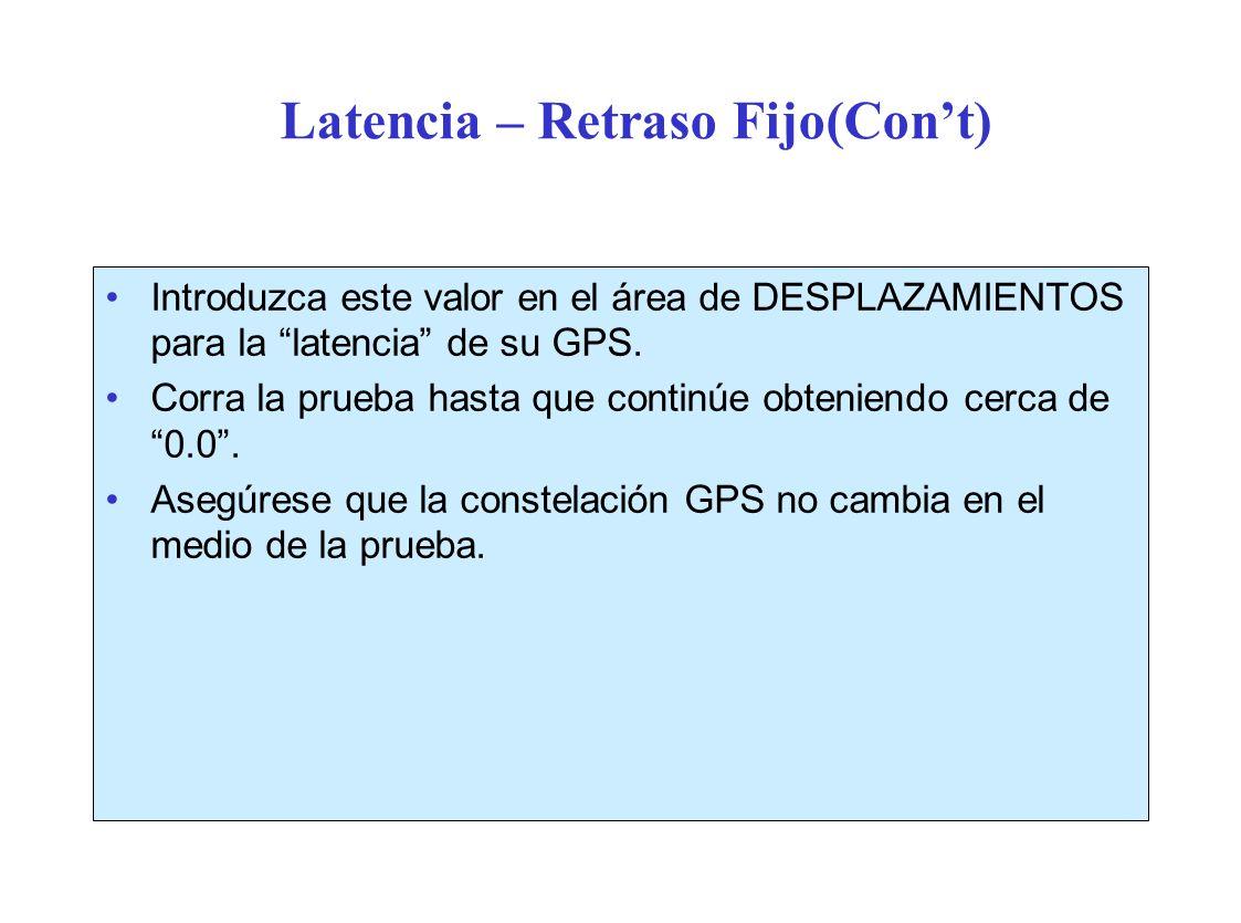 Latencia – Retraso Fijo(Cont) Introduzca este valor en el área de DESPLAZAMIENTOS para la latencia de su GPS.