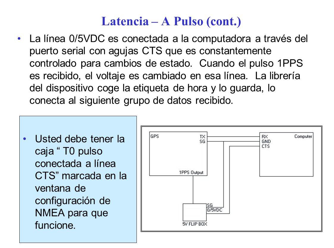 Latencia – A Pulso (cont.) Usted debe tener la caja T0 pulso conectada a línea CTS marcada en la ventana de configuración de NMEA para que funcione.