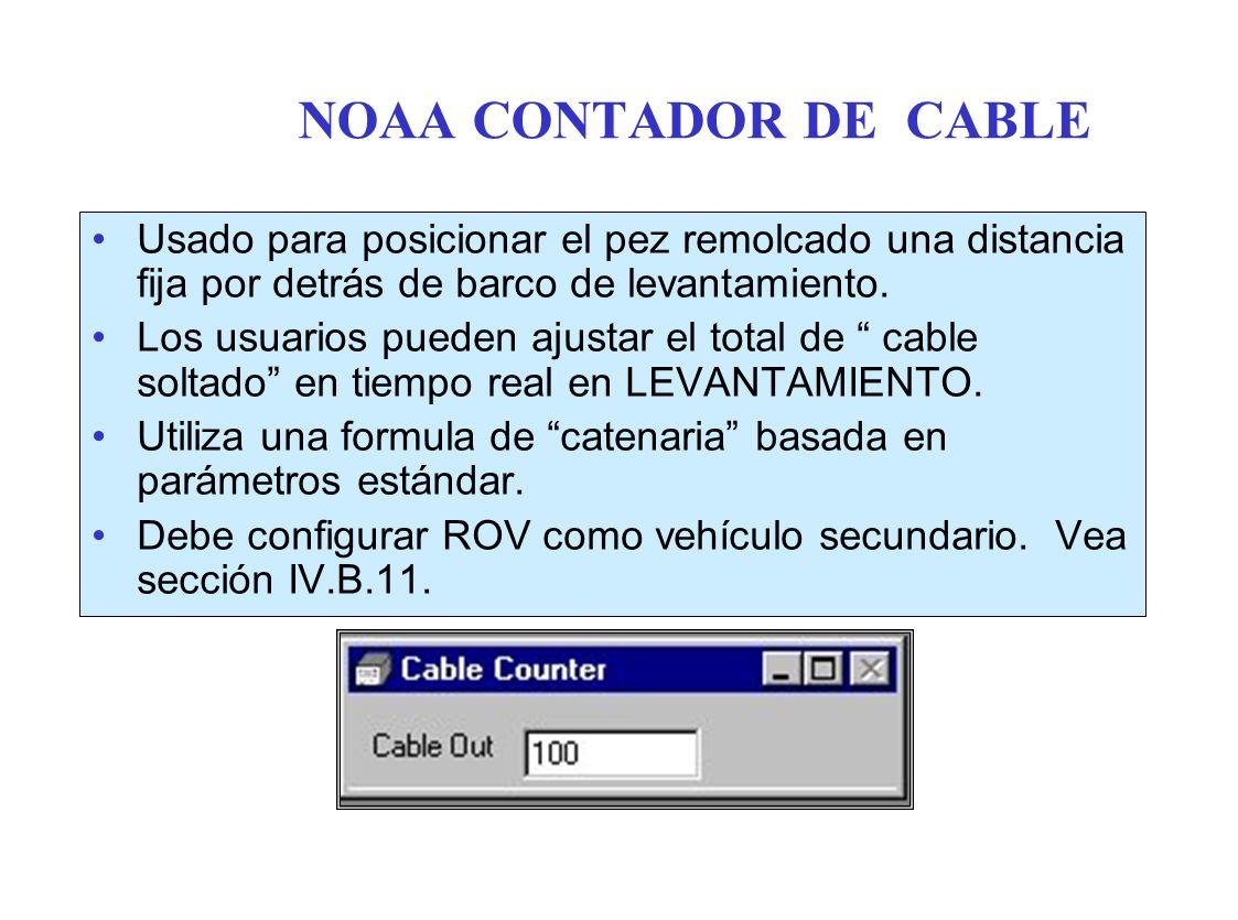 NOAA CONTADOR DE CABLE Usado para posicionar el pez remolcado una distancia fija por detrás de barco de levantamiento.