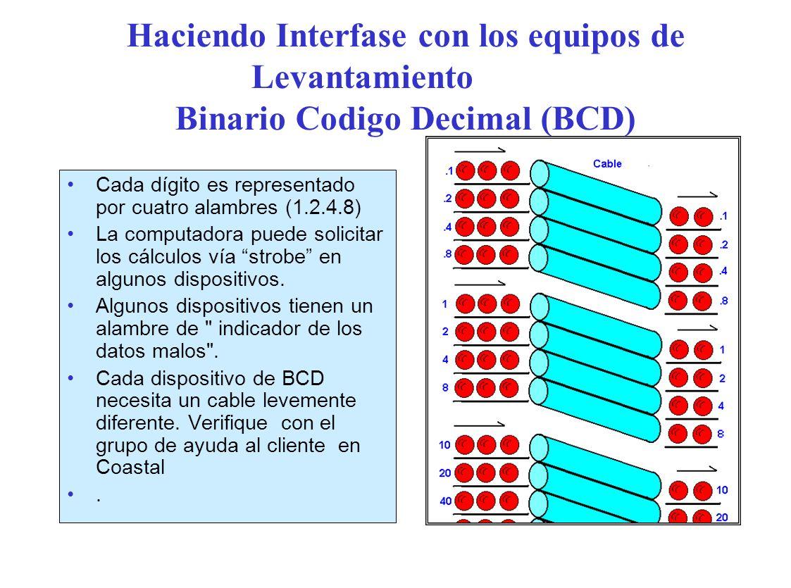 Haciendo Interfase con los equipos de Levantamiento Binario Codigo Decimal (BCD) Cada dígito es representado por cuatro alambres (1.2.4.8) La computadora puede solicitar los cálculos vía strobe en algunos dispositivos.