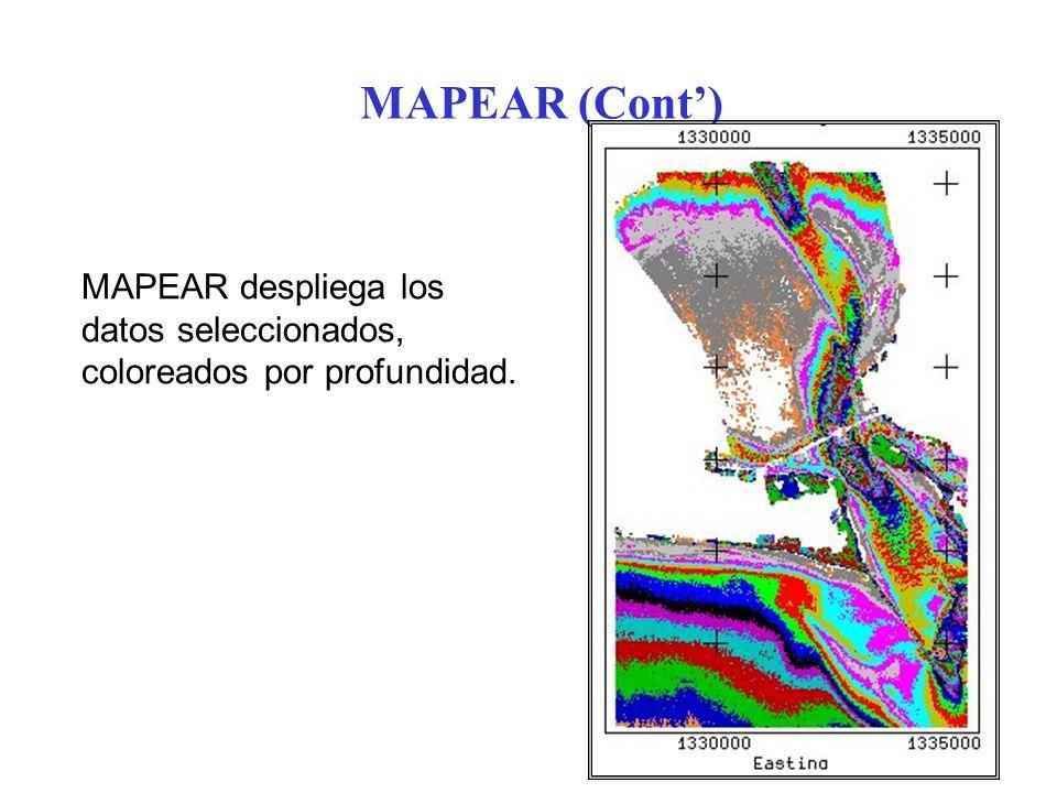 MAPEAR (Cont) MAPEAR despliega los datos seleccionados, coloreados por profundidad.