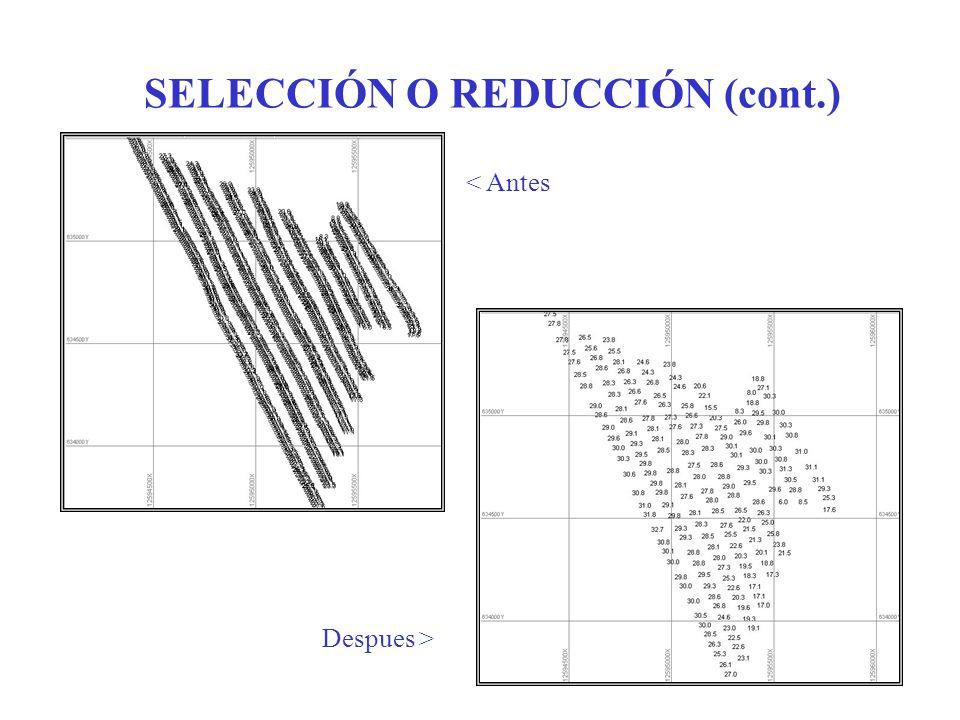 SELECCIÓN O REDUCCIÓN (cont.) < Antes Despues >