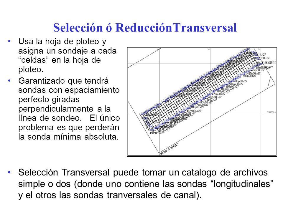 Selección ó ReducciónTransversal Usa la hoja de ploteo y asigna un sondaje a cada celdas en la hoja de ploteo. Garantizado que tendrá sondas con espac