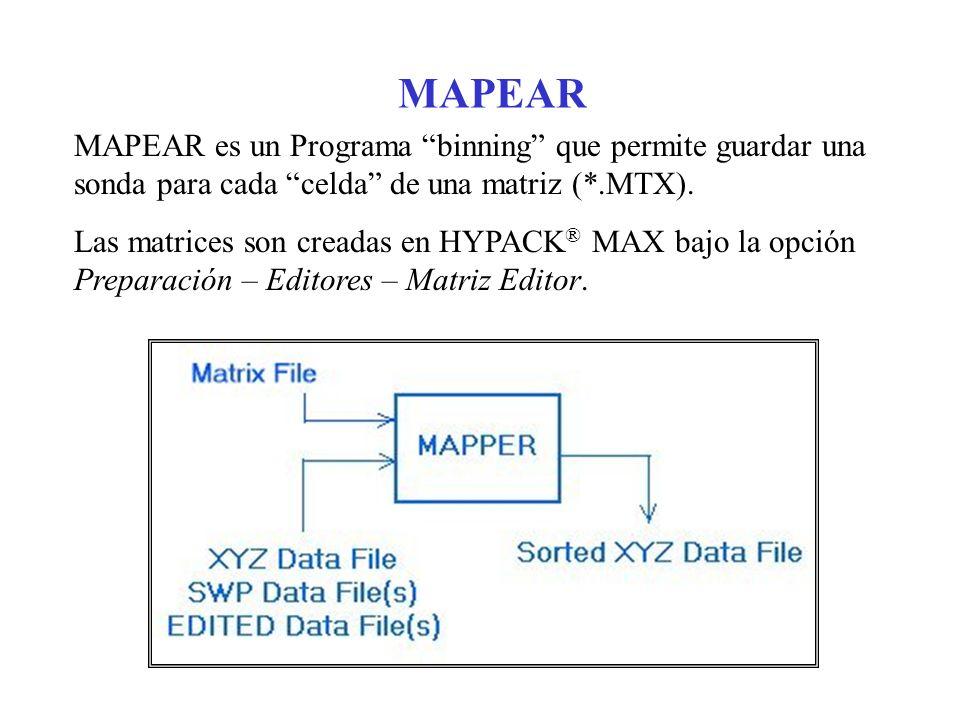 MAPEAR MAPEAR es un Programa binning que permite guardar una sonda para cada celda de una matriz (*.MTX). Las matrices son creadas en HYPACK ® MAX baj
