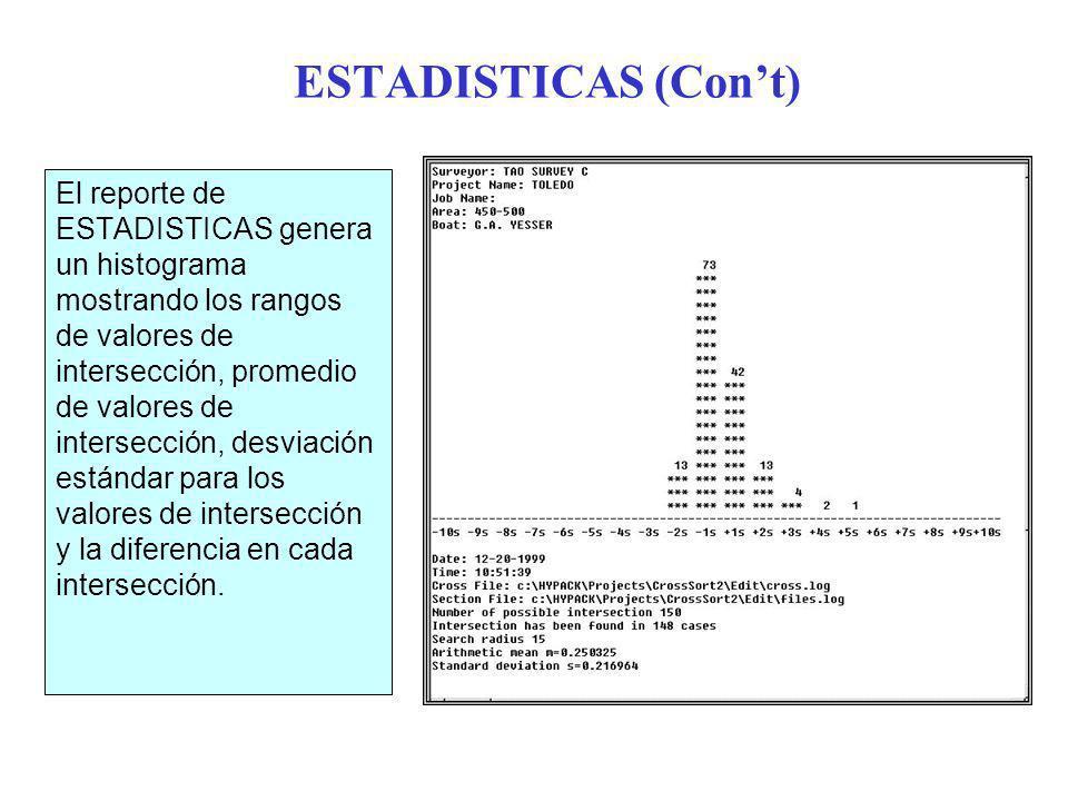 ESTADISTICAS (Cont) El reporte de ESTADISTICAS genera un histograma mostrando los rangos de valores de intersección, promedio de valores de intersección, desviación estándar para los valores de intersección y la diferencia en cada intersección.