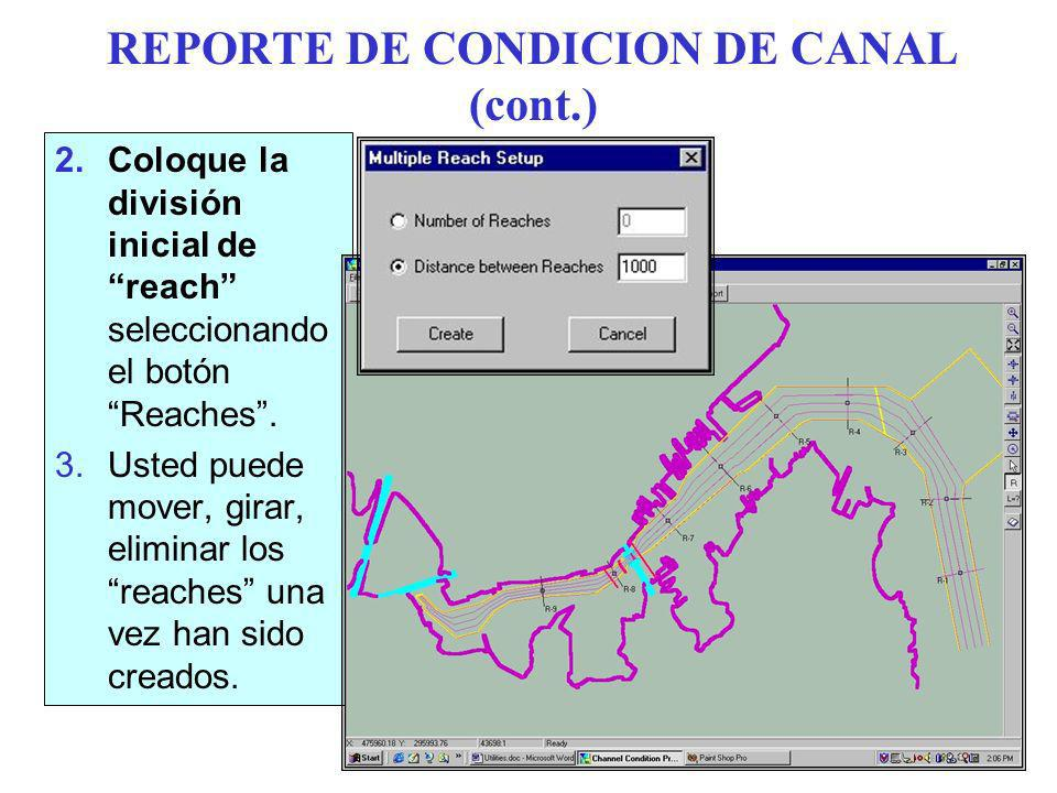 REPORTE DE CONDICION DE CANAL (cont.) 2.Coloque la división inicial de reach seleccionando el botón Reaches.