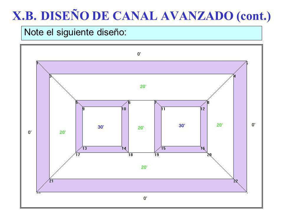 X.B.DISEÑO DE CANAL AVANZADO (cont.) Note el siguiente diseño: