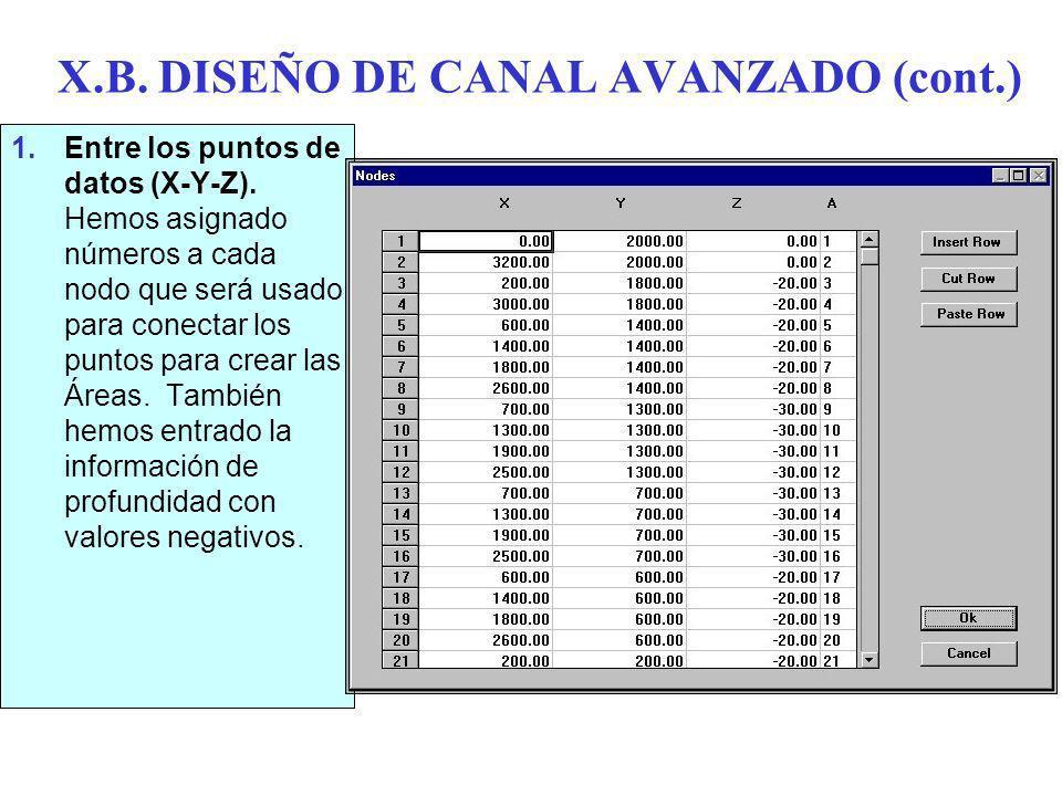 X.B.DISEÑO DE CANAL AVANZADO (cont.) 1.Entre los puntos de datos (X-Y-Z).