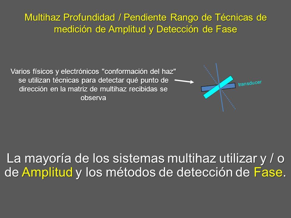 Multihaz Profundidad / Pendiente Rango de Técnicas de medición de Amplitud y Detección de Fase La mayoría de los sistemas multihaz utilizar y / o de A