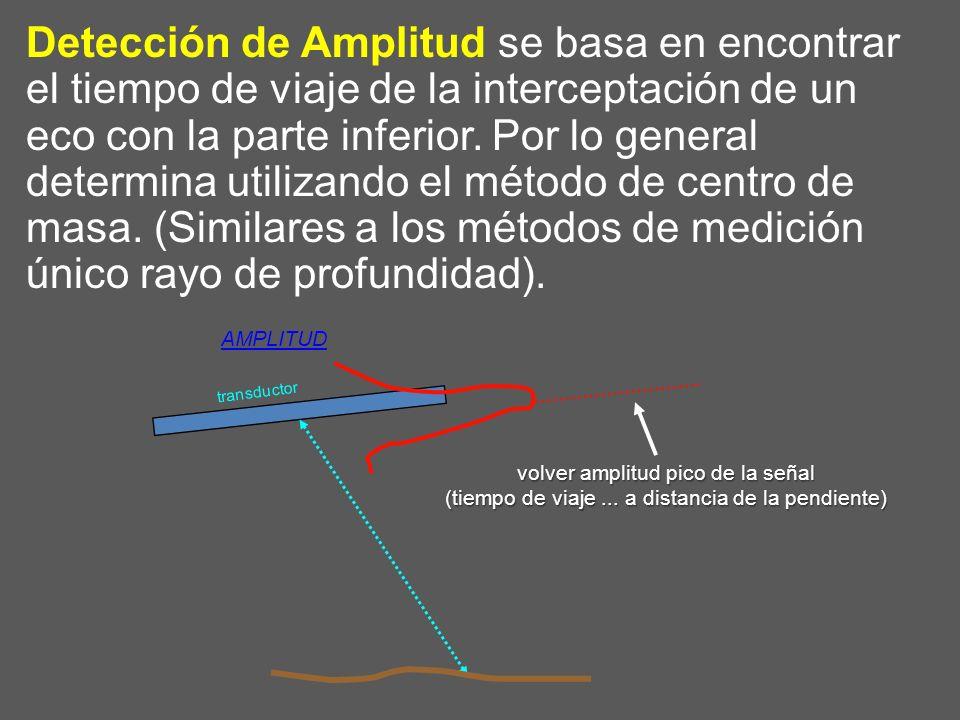 Detección de Amplitud se basa en encontrar el tiempo de viaje de la interceptación de un eco con la parte inferior. Por lo general determina utilizand
