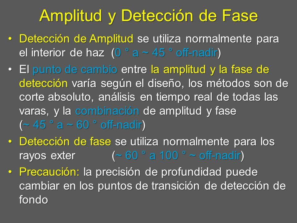 Amplitud y Detección de Fase Detección de Amplitud se utiliza normalmente para el interior de haz (0 ° a ~ 45 ° off-nadir)Detección de Amplitud se uti