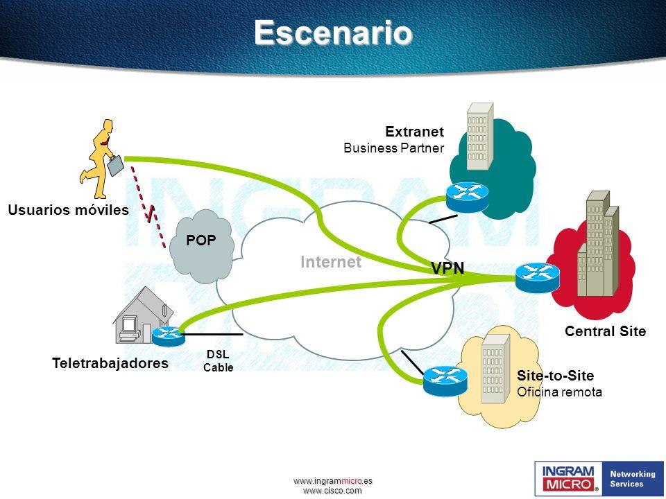 www.ingrammicro.es www.cisco.comEscenario Central Site Site-to-Site Oficina remota Extranet Business Partner POP DSL Cable Usuarios móviles Teletrabaj