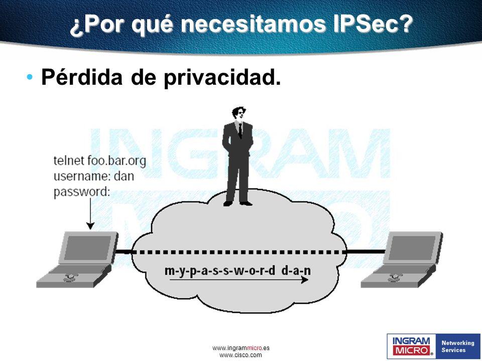 www.ingrammicro.es www.cisco.com ¿Por qué necesitamos IPSec? Pérdida de privacidad.