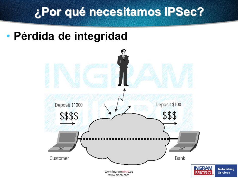 www.ingrammicro.es www.cisco.com ¿Por qué necesitamos IPSec? Pérdida de integridad