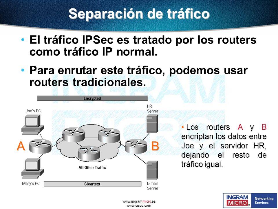 www.ingrammicro.es www.cisco.com Separación de tráfico El tráfico IPSec es tratado por los routers como tráfico IP normal. Para enrutar este tráfico,